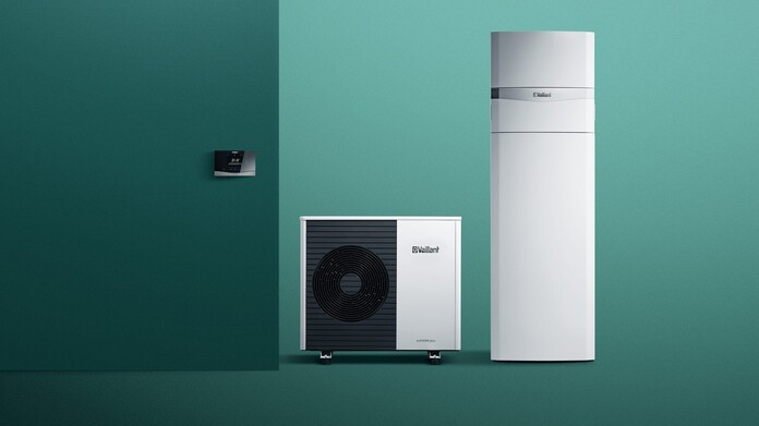 Air-to-water heat pump system aroTHERM plus with indoor unit uniTOWER and system controller sensoCOMFORT
